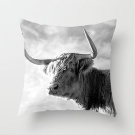 Highland Cow Black and White Profile Sky Throw Pillow
