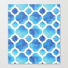 Watercolor Moroccan Quatrefoil Clover Trellis in Turquoise Sea Canvas Print