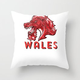 Wales Red & Green design Welsh Soccer Football Rugby Throw Pillow