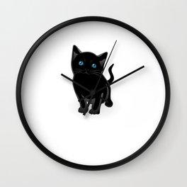 Cool Black Cat Shirt Wall Clock