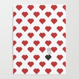 022 - Owly on the black heart red pattern Poster