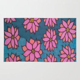 Pink and Blue Dahlia Print Rug
