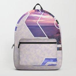 Purple Beach Sunset Futuristic Shape Backpack