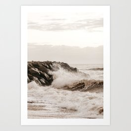Ocean Surf and Rocks, Monochromatic Beach Decor Art Print