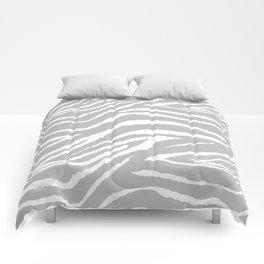 ZEBRA GRAY AND WHITE ANIMAL PRINT Comforters