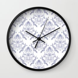 Toile de Jouy - damask colibri pattern Wall Clock