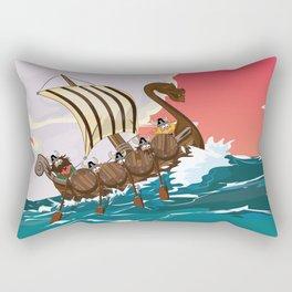 Viking Invasion fleet in the evening sunset Rectangular Pillow