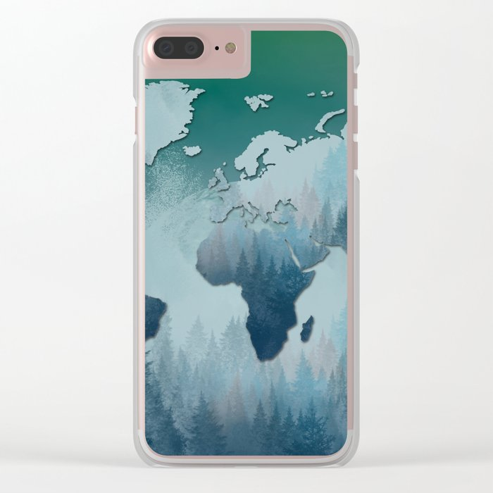 world map forest 4 Clear iPhone Case