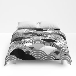 Nature background with japanese sakura flower, Cherry, wave circle Black gray white colors Comforters