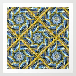 golden day kaleidoscope pattern Art Print