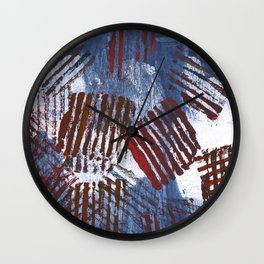 Red blue striped abstract Wall Clock