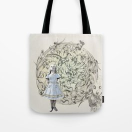 Alice,White Rabbit  and a Wonderland Tote Bag