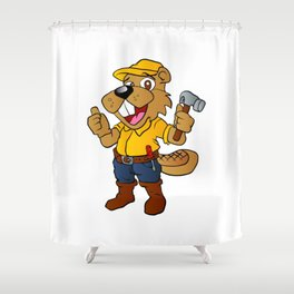 Beaver holding a hammer Shower Curtain