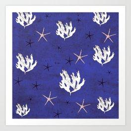 Sea world Vintage Blue Art Print