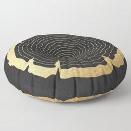 Metallic Gold Tree Ring on Black Floor Pillow