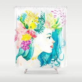Aqua Watercolor Portrait Shower Curtain