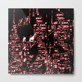 Night Glowing City Metal Print