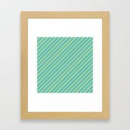 Lime Inclined Stripes Framed Art Print
