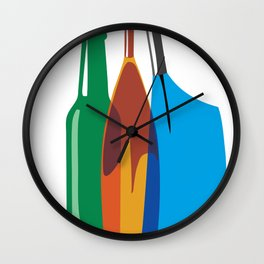 Rowing Oars Evolution in color Wall Clock