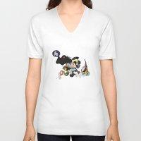 rhino V-neck T-shirts featuring Rhino by Maria Taari