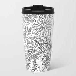 Succulent doodle - black + white Travel Mug