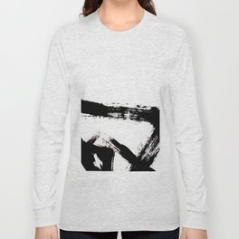 Brushstroke [8] - a simple, abstract, black and white india ink piece Long Sleeve T-shirt