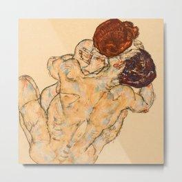 """Egon Schiele """"Mann und Frau (Umarmung)"""" Metal Print"""