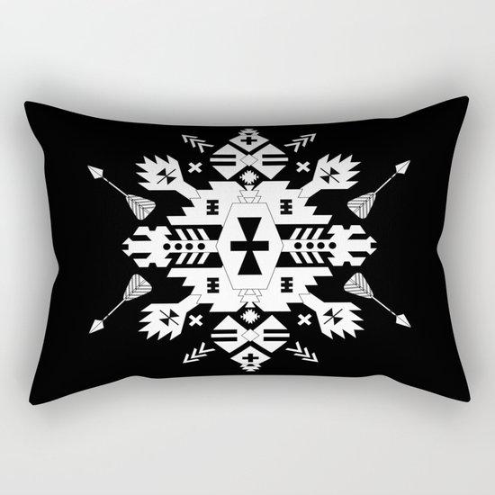 Black and White Ethnic Aztec Ornament Rectangular Pillow