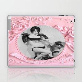 Femme Fatale - Pin Up - Pastel Pink Frame - Roses  Laptop & iPad Skin
