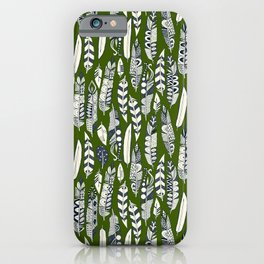 joyful feathers green iPhone Case
