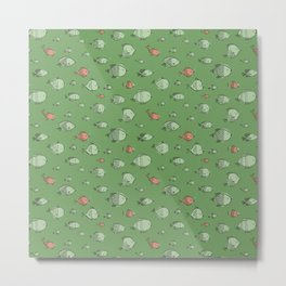 Aquarium Lullaby Fishes in Green and Pink Metal Print