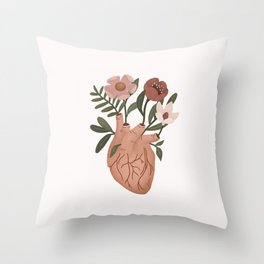 Heart with Flowers Throw Pillow