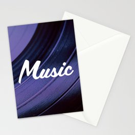 Music on Record. (Purple) Stationery Cards