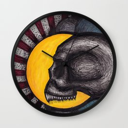 Death Reborn - Skull Sunburst Wall Clock