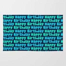 Happy Birthday in Blues Rug