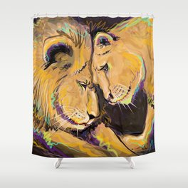 Long Lasting Lion Love Shower Curtain