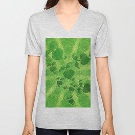 Vine leaves on green kaleidoscope Unisex V-Neck