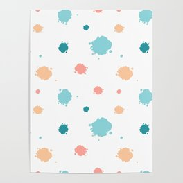 cute pattern background illustration with ink blots Poster