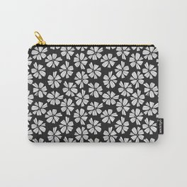 multi colored flower madness - black and white Carry-All Pouch