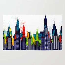 Colorful City Buildings And Skyscrapers In Watercolor, New York Skyline, Wall Art Poster Decor, NYC Rug