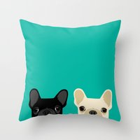 onesie Throw Pillows featuring 2 French Bulldogs by Anne Was Here