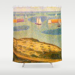 Port-en-Bessin Entrance to the Outer Harbor Georges Seurat - 1888 Impressionism Modern Populism Oil Shower Curtain
