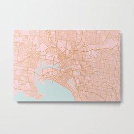 Melbourne map, Australia Metal Print
