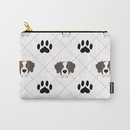 St Bernard Paw Print Pattern Carry-All Pouch