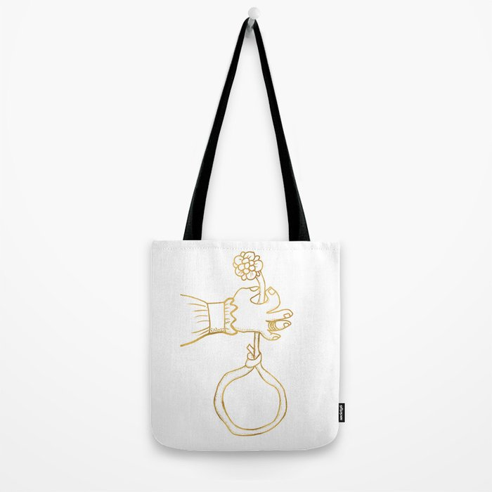 the river holds a flower . gold Tote Bag