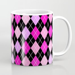 Pink Lavender Black Argyle Coffee Mug