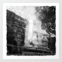 White Busts in Window #2-Black and White Version Art Print