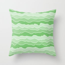 Four Shades of Green with White Squiggly Lines Throw Pillow