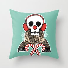 Stay Warm Holiday Skull Throw Pillow