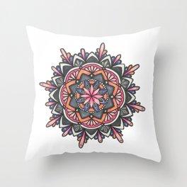 Warm Tone Mandala Throw Pillow